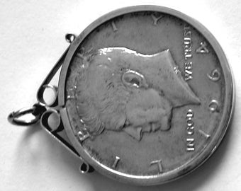 Kennedy 1964 Silver Half Dollar Coin In Silver Pendant Mount