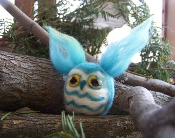 Needle Felted Blue Great Horned Owl