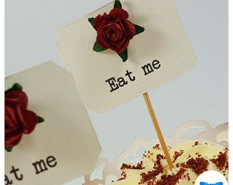 Alice In Wonderland Cupcake Toppers - Eat Me - Mad Hatters Tea Party - Vintage - Birthday Party - Rustic Wedding - Food Flags  - Set of 6