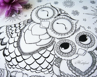 Cutest Mama & Baby Owl Coloring Page Bundle