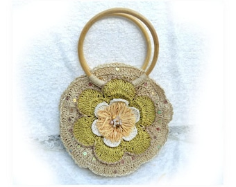 woven straw purse - round straw purse  - Floral Raffia Purse - bamboo handle purse - natural fiber purse - Summer straw purse -  # P  10