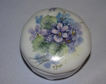 Vintage Violet Trinket Dish, Bowl, Porcelain, Hand Painted Porcelain, Sweet Dainty, Spring Time Flowers, Purple Flowers, Signed M. Jones