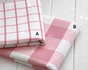 Large Check Fabric, Canvas Cotton Fabric, Pink Plaid Fabric, Sofa Cushion Chair Bag Fabric - Fabric 1/2 yard