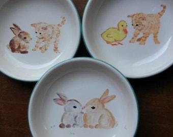 Kitty cat jade green ceramic bowl kitten bowl animal lovers pottery colorful animal pet dishes feline cat dish pasta bowl cereal bowl gift