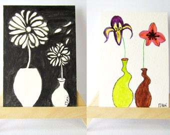 Aceo art cards 2.5 X 3.5 inch, daisy and flower ACEO card, artist original, the flower watercolor art by YJMai