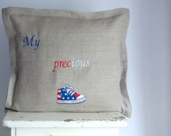"Linen Pillow Cover, My Precious Pillow, Embroidered Pillow 16""x 16"", Decorative Pillow, customizable Cushion, Throw Pillow"