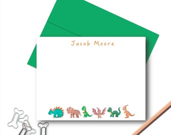 Dinosaurs Stationery Set, Personalized Stationery for Kids, Kids Note Cards, Kids Personalized Stationary, Stationery for Boys, Note Cards