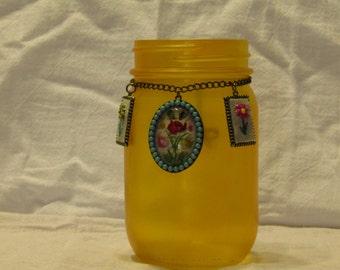 Yellow Rose Medallion Jar