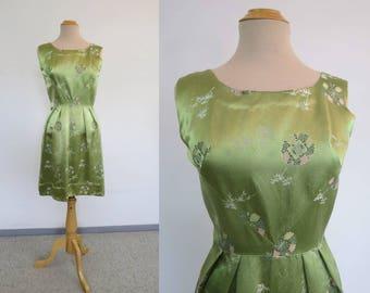 Vintage Dress - 1960s Vintage - Green Satin Brocade Dress - Bust 91 cm