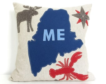 Maine Map with Lobster and Moose in Blue and Red Felt Applique on Oatmeal Linen
