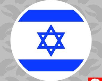 Round Israeli Flag Sticker Self Adhesive Vinyl Israel jew jewish circle - C269