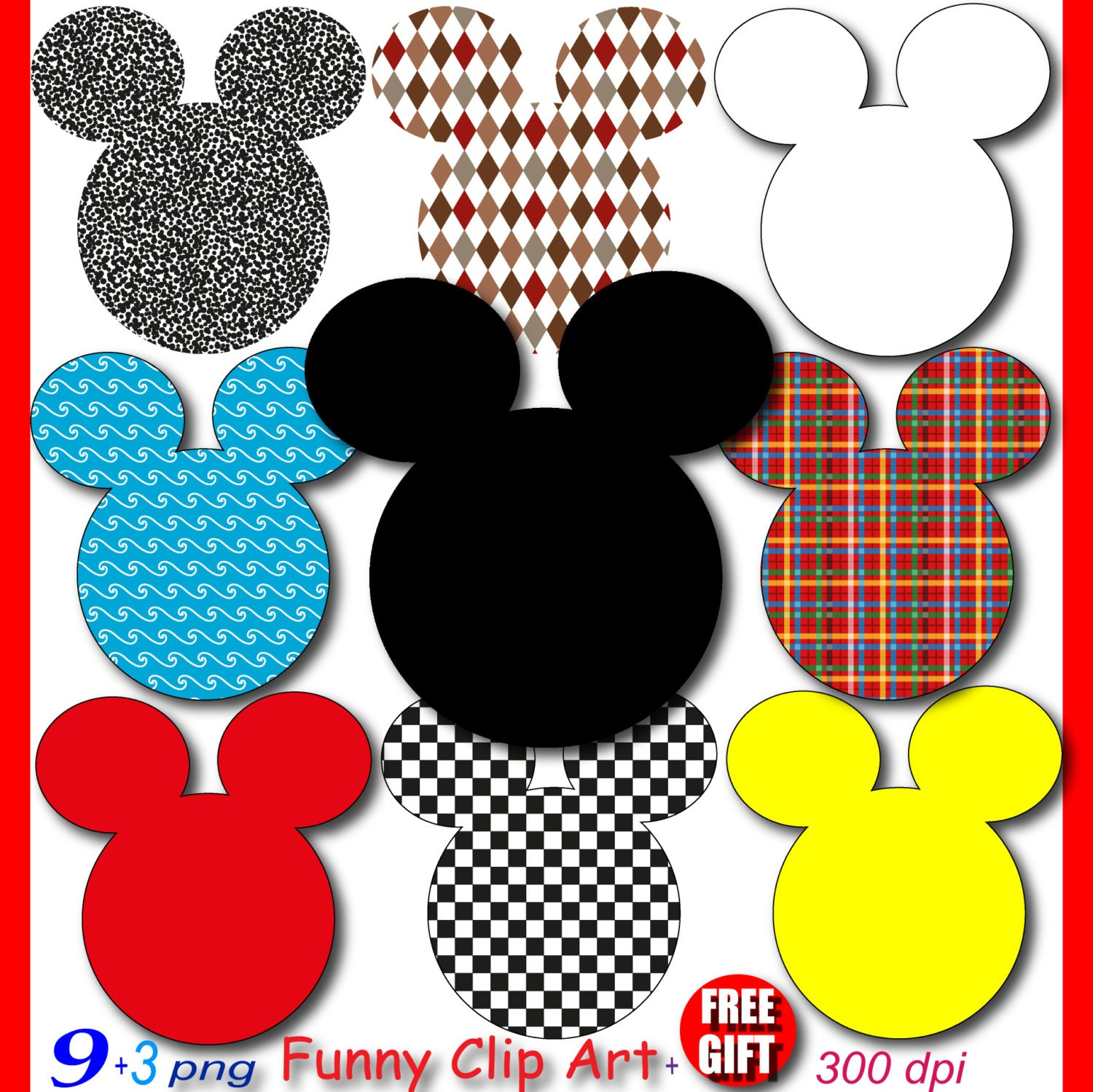 mickey mouse party digital clipart minnie mouse clubhouse scrapbook rh etsystudio com scrapbook clip art free scrapbook clipart 3d