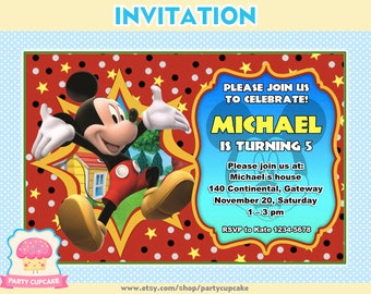 80% OFF SALE Invitation Mickey Mouse - Custom Invitation - PDF File - High Resolution - Holiday Party