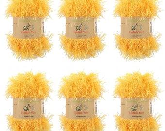 Eyelash Yarn - 50g - 6 Skeins - Lemon