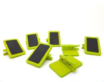 Slate, tag, mini clothespin, wood, green