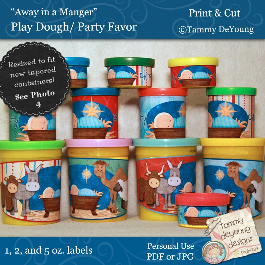 Printable Nativity Christmas Party Favors Manger Scene Labels