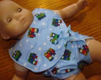Ready to ship set Bib and Diaper blue trains 15 inch doll such as Bitty Baby