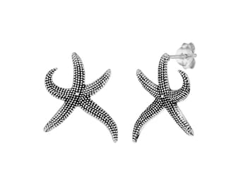 Silver Starfish Earrings, Silver Studs Earrings, Dark Silver Earrings, Star Fish Studs, Starfish Silver Earrings, Studs Everyday Earrings