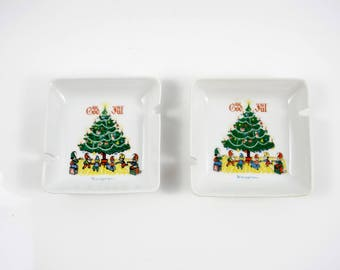 Vintage Swedish Berggren Christmas Tree Open Ashtray God Jul 2 available
