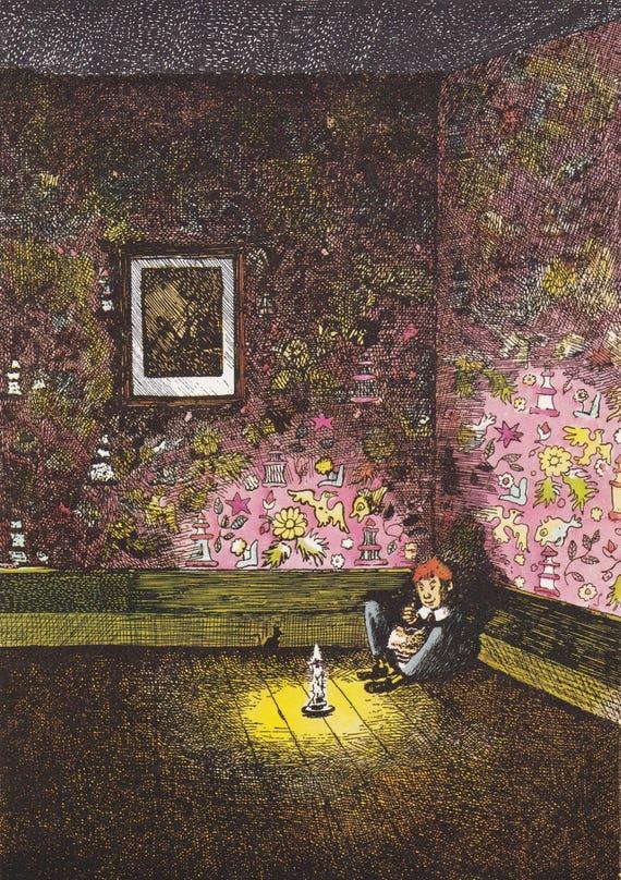 "Illustration of nursery rhyme ""Little Jack Horner"" by Mervyn Peake, 9.75 x 7 inches, 1975 book illustration, 9.75 x 7 inches"