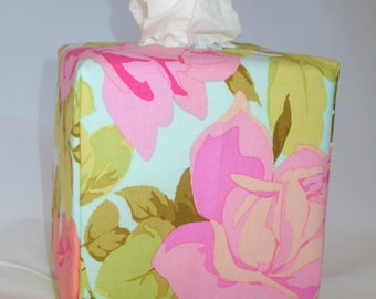 Ready To Ship -  Large Pastel Roses2-  Fabric Tissue Box Cover