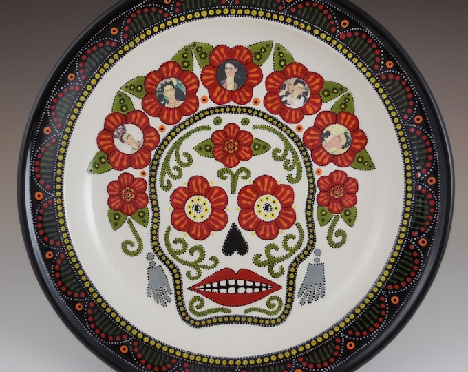 Featured listing image: Sugar Skull with Frida Kahlo images made to order