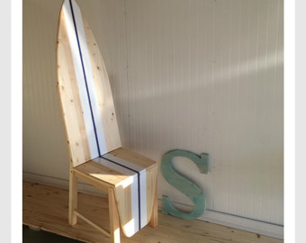 surfboard furniture. Wood Surfboard Chair With Natural, White And Blue Stripe. Furniture N