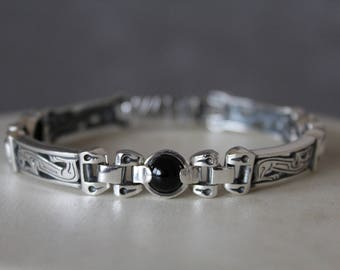 Men's sterling silver bracelet,Gemstone silver bracelet,Heavy men's silver bracelet,Linc silver bracelet,Handmade,Artisan Metalwork,Gorgeous