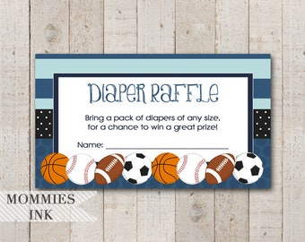 Sports Diaper Raffle Ticket, Allstar Baby Shower Raffle Ticket, Allstar Diaper Raffle, Diaper Shower Raffle Ticket, Baseball Insert