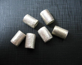 2 Pcs Indian Handmade 925 Sterling Silver Brushed Texture Cylinder Beads