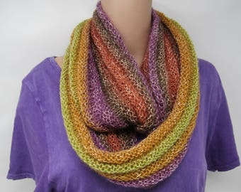 Handcrafted Knitted Cowl Violet/Orange/Yellow Textured Fuzzy Female Adult