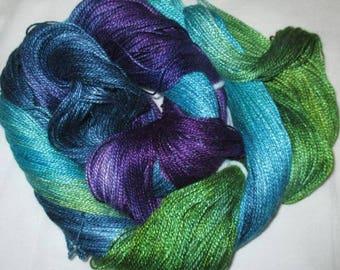 Hand dyed Tencel Yarn - 4/2 Tencel Lace Wt. Yarn  SANTA FE - 420 yards