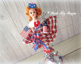 She's A Firecracker Assemblage Art Doll Retro Redhead Girl Doll 4th of July Red White Blue Patriotic Decoration