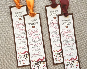 Autumn Wedding Save the Date, Fall Save the Date Bookmark, Love Birds Save the Date, Autumn Tree Wedding Save the Date, Leaf Wedding, Sample