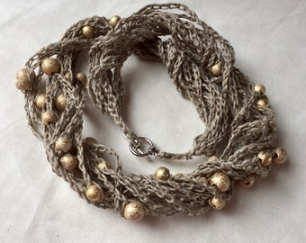 Handmade Crochet Linen Necklace. Natural Colour Linen Strand Necklace with gold Beads. Multi Strand Necklace with Glitter  Gold Beads
