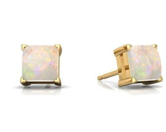 14Kt Yellow Gold Plated Opal Princess Cut Stud Earrings