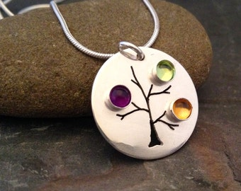 Mothers Necklace , Birthstone Necklace, Family Tree Necklace, mothers jewelry, tree of life