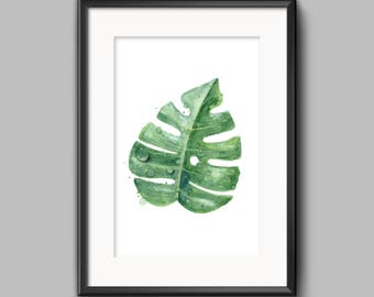 Botanical, Tropical Leaves Home Print, Scandinavian Wall Art