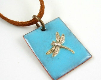 Fine Silver Dragonfly on Enameled Copper Pendant