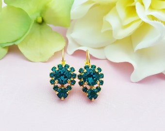Blue Zircon Earrings - Blue Crystal Earrings - Blue Swarovski Earrings - December Birthstone Earring - Turquoise Rhinestone Jewelry E3369