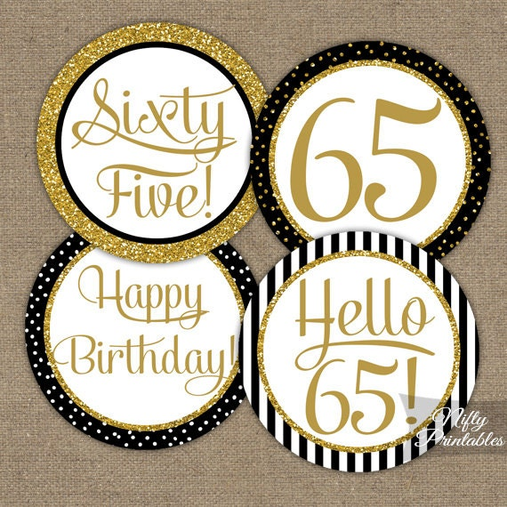 65th Birthday Cupcake Toppers Black Amp Gold 65 Years Bday