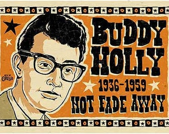 "Buddy Holly Poster- signed by Grego - digital - folk art - big 12""x18"" - mojohand.com"