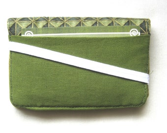 Business Card Holder Mini Wallet- Bifold Inside Outside Wallet in Olive Green Dark Green Moss Fabric