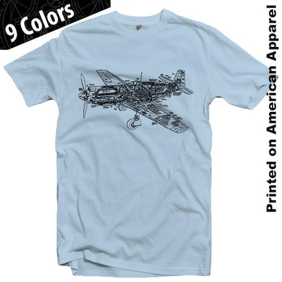 P 51 mustang fighter plane t shirt s xxl american apparel malvernweather Choice Image