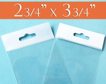 """200 Clear Cello Bags, 2.75 x 3.75 Inch HANG TOP: Resealable Adhesive for Display or Pegboard, Trading Card Clear Packaging (2 3/4"""" x 3 3/4"""")"""