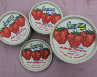 Vintage Waxed Dixie Cup Frozen Strawberry LIDS, SET of six lids