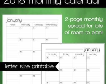 Printable 2018 Monthly Calendar - 8.5x11 Letter Size PDF - 2018 Planner Insert - Instant Download - Planner Calendar
