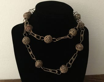 MEXICAN Ball and Wire Link Wedding Ceremony Necklace       Silvertone Ethnic Tradition