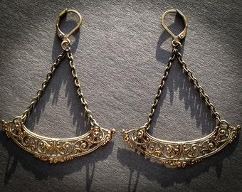 Filigree Chandelier Brass Earrings