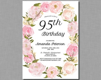 Womens 85th birthday party invitations any age 95th birthday invitations 90th birthday 80th birthday 85th birthday 100th birthday adult birthday invitation ap41 printed or digital filmwisefo
